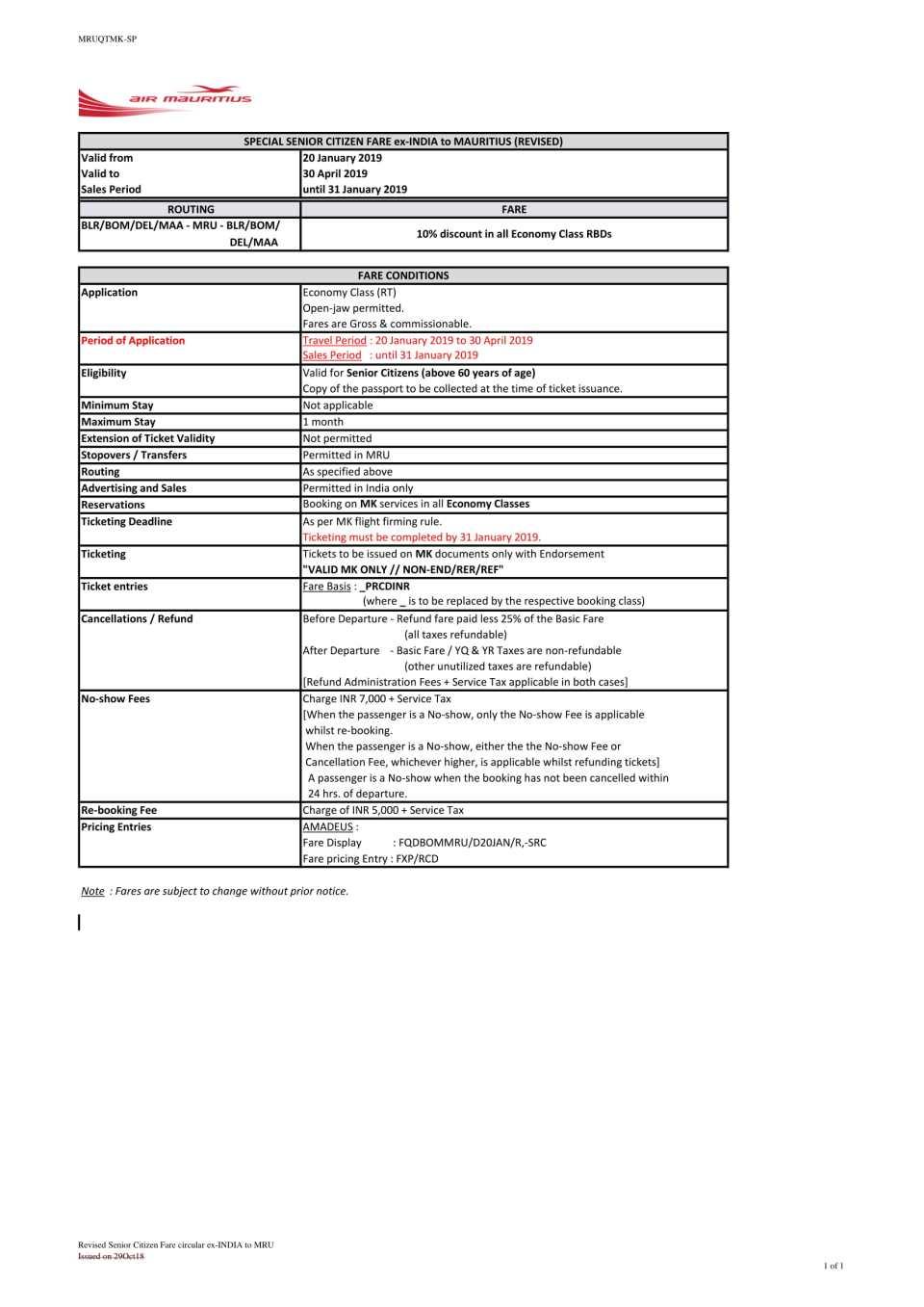 Revised Senior Citizen Fare circular ex-INDIA to MRU-1