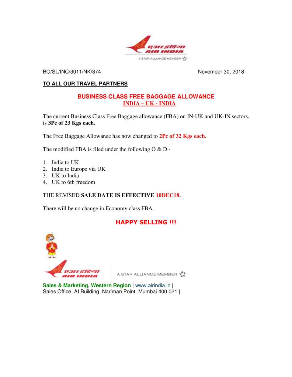Business Class Free Baggage Allowance IND-UK-IND (Cir 374)-1