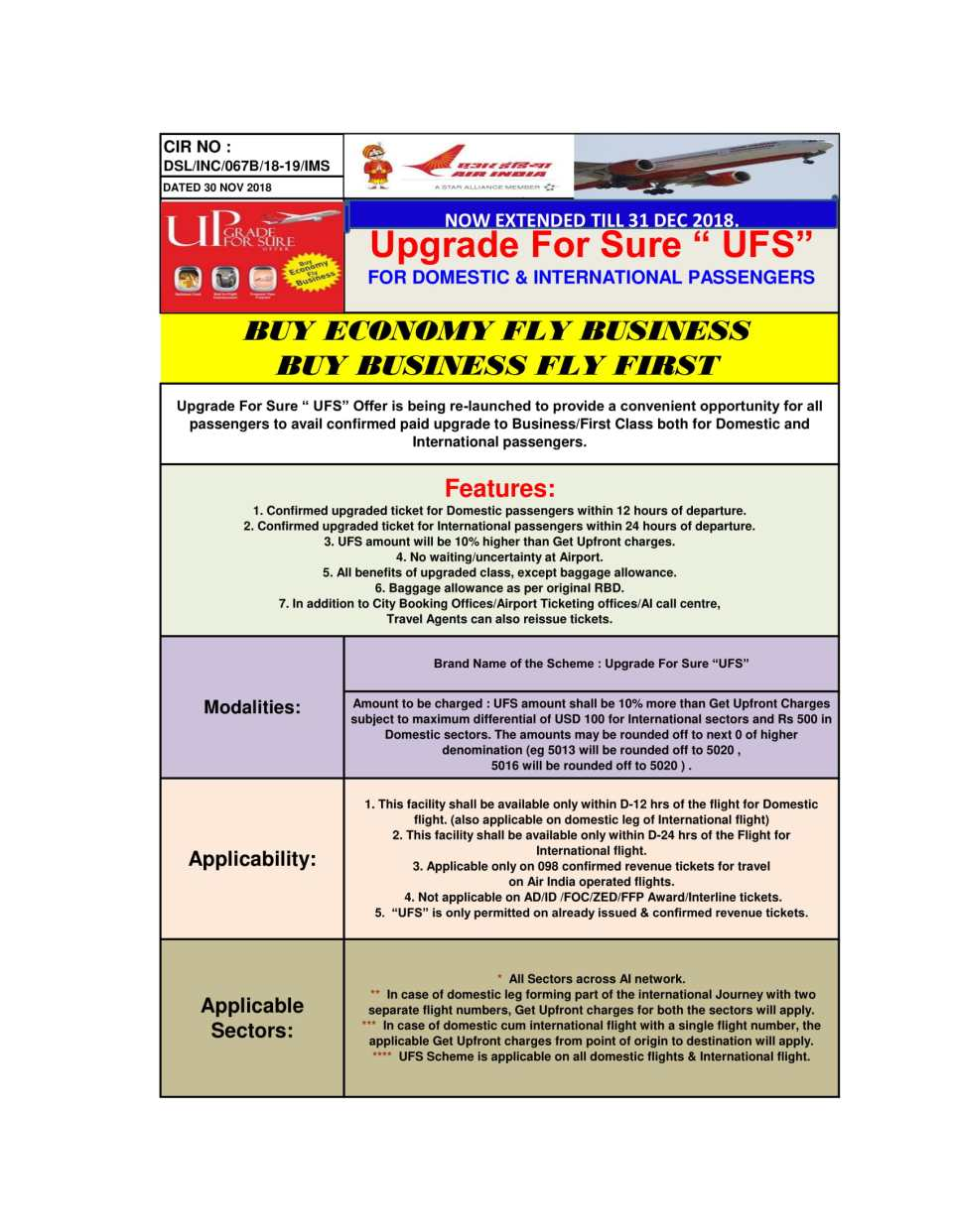 CIR NO 067B UPGRADE FOR SURE - UFS FOR DOMESTIC & INTERNATIONAL PASSENGERS EXTENDED pdf-1