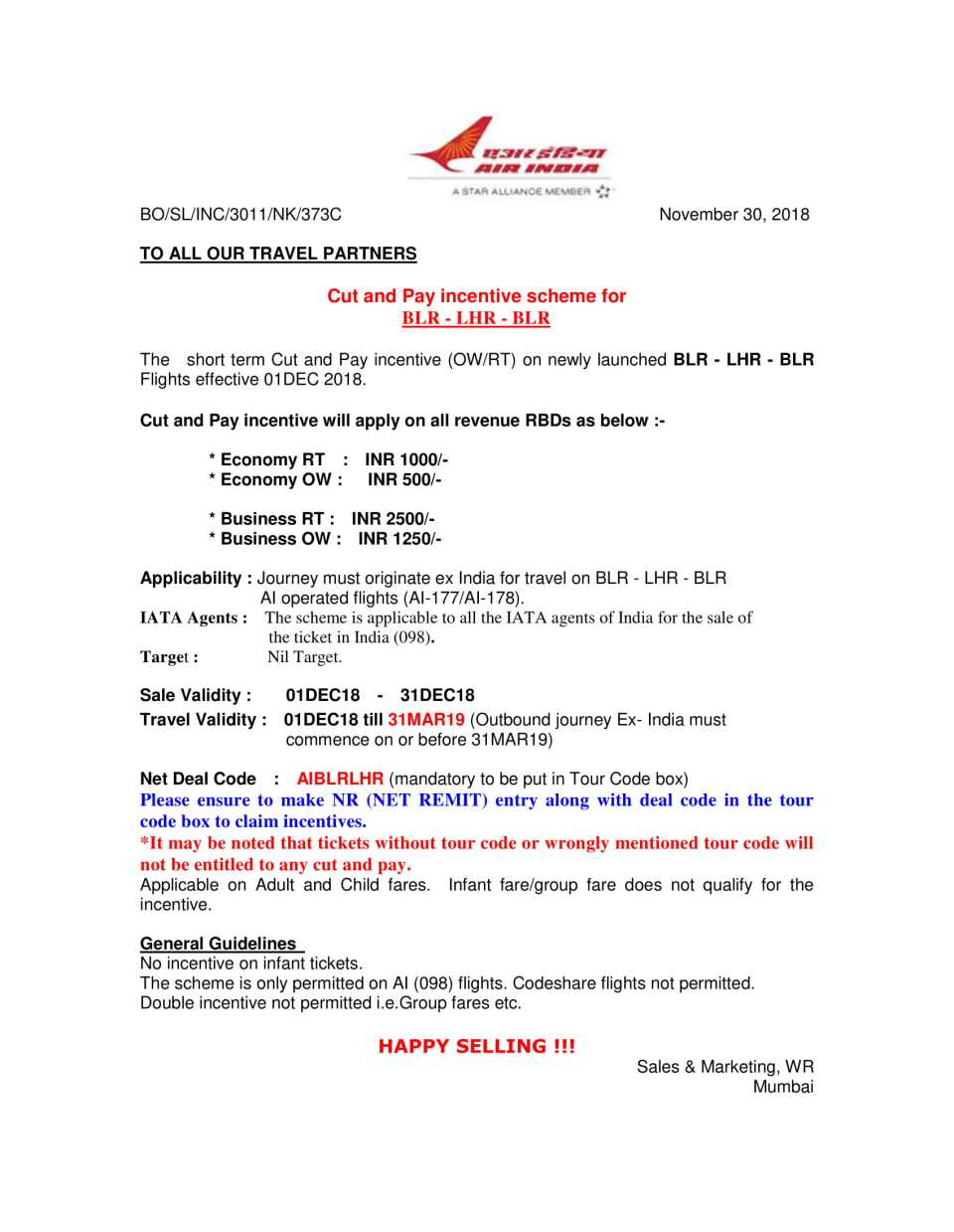Cut & Pay Inc Scheme for BLR-LHR -BLR (Cir 373C)-1